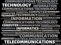 通讯技术-与词的图象联合题目通讯技术,词,图象,例证 库存照片