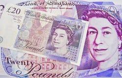通货膨胀的镑压英镑 库存照片