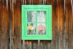 通过一个老房子的一木视窗被看见的花 库存图片