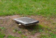 通过中断它破坏了它的基地的一块先驱墓石 图库摄影