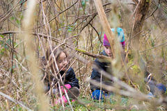 通过分支被看见的孩子在森林地 库存照片