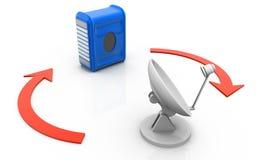 通过卫星盘被连接的计算机服务器 免版税库存照片
