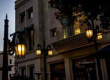 通过圈地-圈地推进2017年8月12日的街灯, -洛杉矶, LA,加利福尼亚,加州 图库摄影