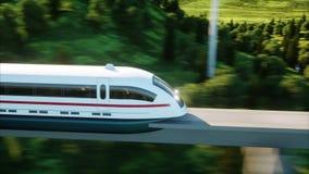 通过在单音路轨的未来派,现代火车 生态未来概念 空中自然视图 照片拟真的4K 库存例证