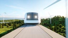 通过在单音路轨的未来派,现代火车 生态未来概念 空中自然视图 3d翻译 向量例证