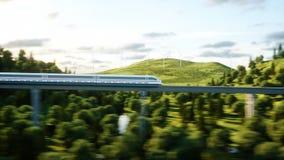 通过在单音路轨的未来派,现代磁悬浮火车 生态未来概念 空中自然视图 3d翻译 库存例证