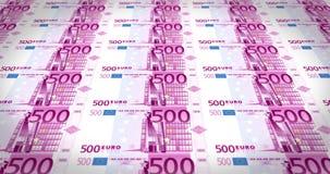 通过在屏幕,圈上的五百欧元钞票板料  向量例证