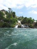 通过在莱茵瀑布,瑞士下的小河 免版税库存图片