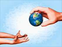 通过地球从成人到孩子 免版税库存图片