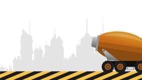 通过城市HD定义的水泥卡车 皇族释放例证