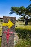 通过对圣地亚哥标志西班牙的de拉普拉塔方式 库存照片