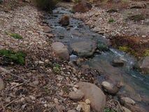 通过岩石河床的小小河 库存图片
