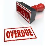 通过最后期限的过期邮票逾期付款延迟反应 免版税库存图片