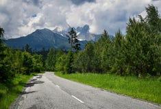 通过有峰顶的山森林柏油路 免版税库存图片