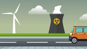 通过核工厂HD动画的汽车 库存例证