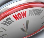 通过现在明天今天展望的当前未来时钟 库存照片