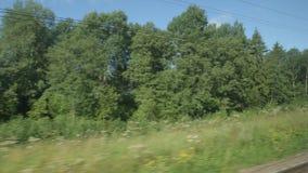 通过的高速列车快速的移动树和领域在夏日 影视素材