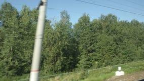 通过的高速列车移动树在一个夏日 影视素材