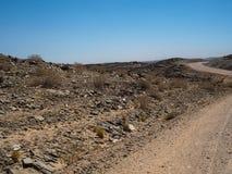 通过纳米比亚沙漠热的干风景冒险在土路旅行的旅途场面晃动与地方植物的山天际 库存照片