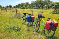 通过通往圣地亚哥的de拉普拉塔道路乘自行车西班牙 免版税库存照片