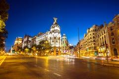 通过马德里的Gran 免版税库存图片