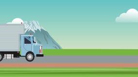 通过高速公路HD动画的货物卡车 皇族释放例证