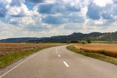 通过绿色的领域涂柏油国家农村路在德国 免版税图库摄影