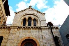 通过Dolorosa。亚美尼亚语天主教。第四驻地中止耶稣基督,使他的十字架不耐烦对Golgotha。耶路撒冷,以色列。 库存照片