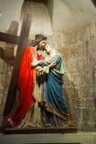 通过Dolorosa。耶稣第四中止-与母亲的一次会谈 免版税库存照片