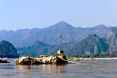 通配湄公河在老挝 图库摄影