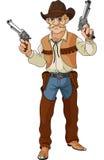 通配牛仔准备好的枪战西部 库存例证