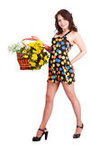 通配花充分的女孩长度纵向的春天 库存照片