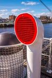 通风设备在传统帆船系住索具帆柱并且停留 免版税图库摄影