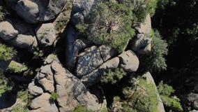 通风 岩石安心在厚实的绿色森林中的山的 股票录像