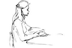 速写一个美丽的女孩在表 库存例证