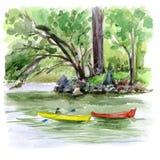 速写与水彩的风景 皇族释放例证