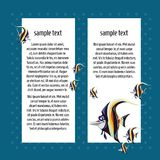 速写与空间的卡片文本和鱼zanclus cornutus的 海报、邀请或者其他卡片的样品 向量 免版税图库摄影