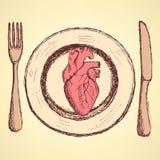 速写人的心脏在板材在葡萄酒样式 免版税库存图片