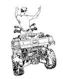 速写传染媒介例证,方形字体自行车剪影, ATV在白色背景的商标设计 图库摄影