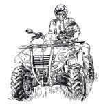 速写传染媒介例证,方形字体自行车剪影, ATV在白色背景的商标设计 免版税库存照片