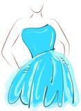 速写女孩在蓝色礼服 图库摄影