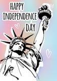 速写样式与自由女神像的传染媒介例证为7月第4 愉快的独立日庆祝 向量例证