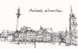 速写波兰,弗罗茨瓦夫的都市风景市,无权凹道illustr 皇族释放例证