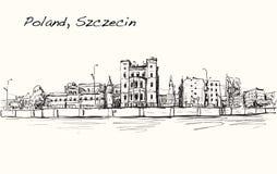 速写波兰,什切青的都市风景市,无权凹道illust 皇族释放例证