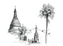 速写泰国的寺庙 库存例证