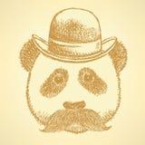 速写熊猫在有髭的,传染媒介背景帽子 免版税库存图片