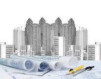 速写现代大厦和计划图纸 免版税库存照片