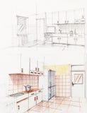 速写的公寓内部厨房透视图 库存图片