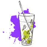 速写的鸡尾酒的传染媒介例证与石灰的 免版税库存照片