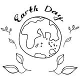 速写行星地球在黑白颜色庆祝世界地球日 图库摄影